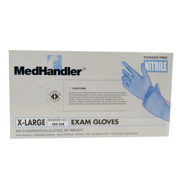 medhandler nitrile exam gloves blue