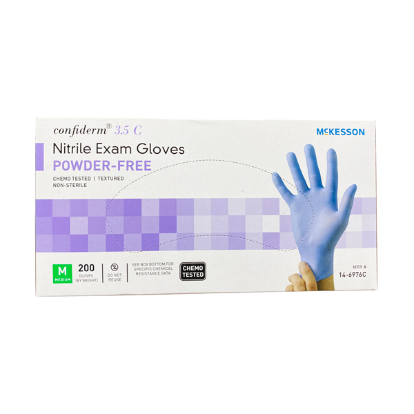 McKesson Confiderm 3.5C Nitrile Exam Gloves, Blue 200 Piece Large Wholesale Los Angeles