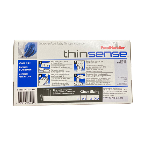 FoodHandler Thinsense Nitrile Gloves, Blue - 250 Piece Wholesale Los Angeles