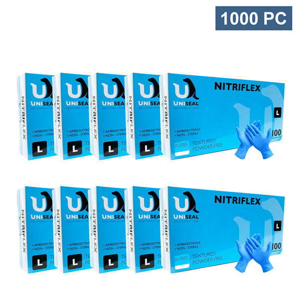 Uniseal Examination Nitrile Blue Disposable Gloves
