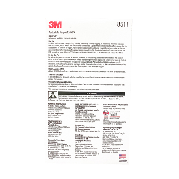 3M N95 8511 Respirator Face Mask Wholesale Los Angeles