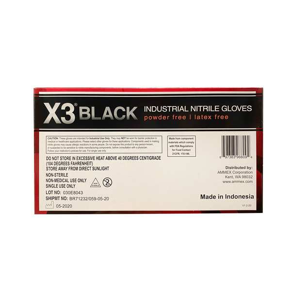 X3 Black Nitrile Powder-Free Gloves Industrial wholesale los angeles