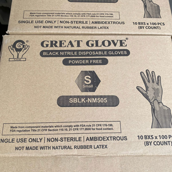 Great Glove Black Nitrile Powder Free Tattoo Food Safe Industrial Disposable Gloves Los Angeles Moreno Valley Riverside Wholesale Bulk Cheap